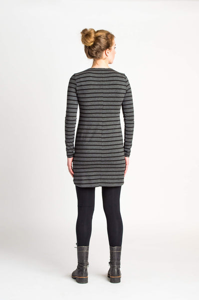 Duffield-Design-Fitted-VNeck-Black-Grey-Striped-Tunic-Back