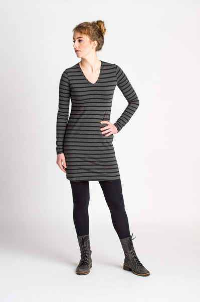 Duffield-Design-Fitted-VNeck-Black-Grey-Stripped-Tunic-Front