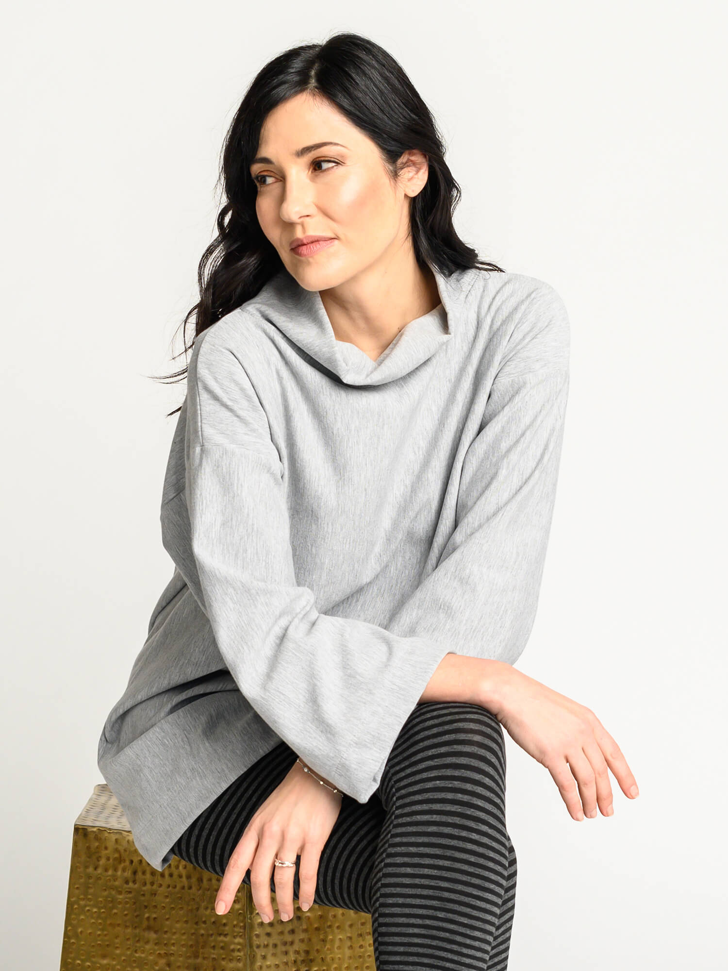 The Sierra Sweater in a heather grey plush bamboo fleece fabric and loose collar.