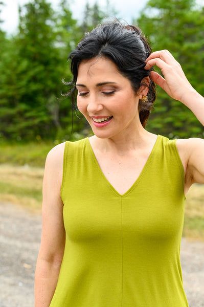 V-neck reversible tank top made from kiwi coloured, eco-friendly fabrics.