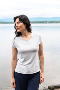 Basic tshirt with a round neck and short sleeves made from eco-friendly bamboo fabrics.