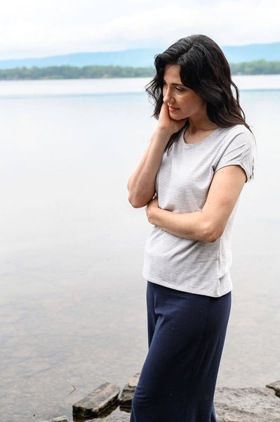 Basic striped tshirt perfect for an eco-friendly capsule wardrobe.