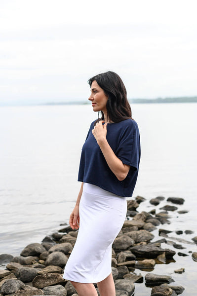 Basic white skirt perfect as a layering piece in an eco-friendly, capsule wardrobe.