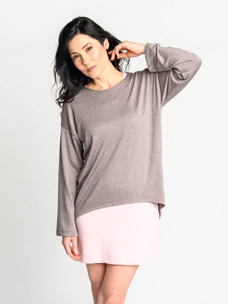 Cozy sweater with drop shoulder details made out of tencel fabric.