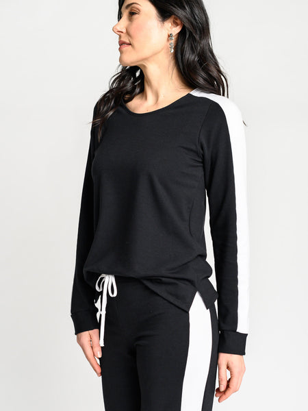 Trendy, sport sweater made from sustainable black and white fabric