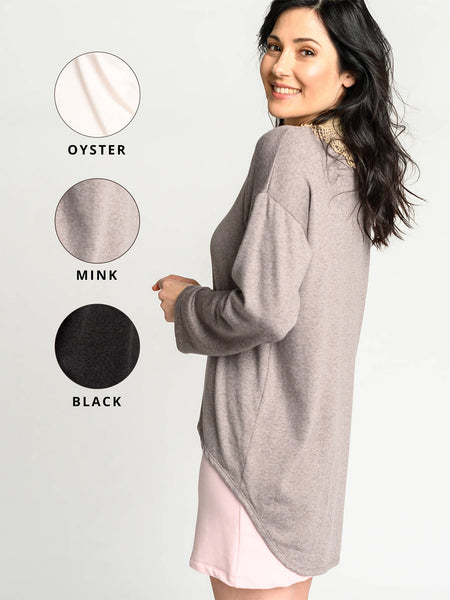 Mink, oyster, and black colour options for the Crescent Sweater.