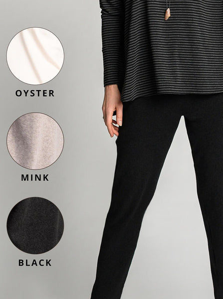 Oyster, mink, and black colour options for the Luxy Jogger.