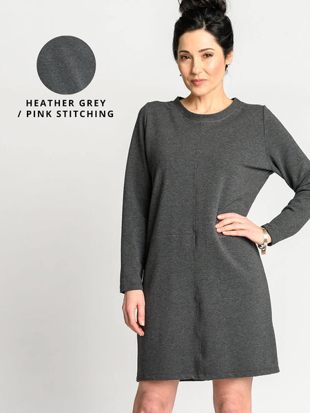 Heather grey with pink stitching colour option for the Mod Dress.
