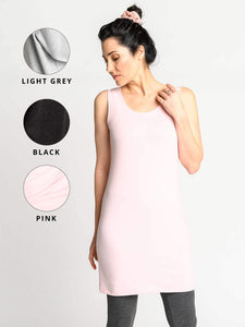 Light grey, black, and light pink swatches for the Tank Tunic.