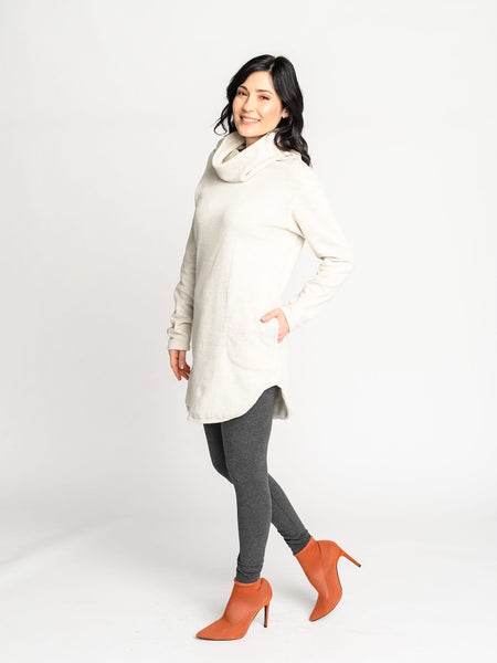 The Le Hibou Sweater has a long body, cowl neckline, and curved hem for a versatile look.