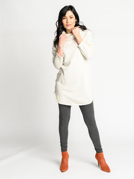 Long relaxed fit sweater with cowl neckline and pockets