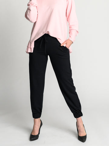 Comfortable Mary Jogger with wide elastic waistband with a cotton drawstring and elastic pant cuff.