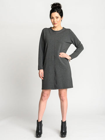 Boxy cut above the knee dress in heather grey bamboo cotton stretch french terry with pink stitching details.