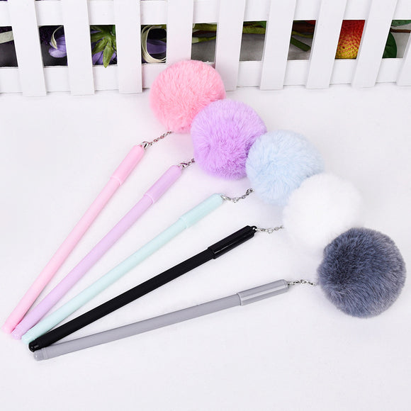 Lovely Gel Pen Hang Pompon School Office Stationery School Supplies