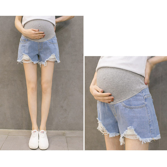 Maternity Clothes Pregnant Women Shorts Summer Wear Low Waist Denim Shorts Pregnant Jeans Pants