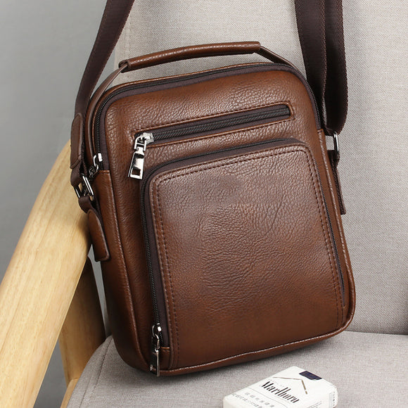 Men's Vintage Casual Pu Leather Zipper Crossbody Shoulder Bag Handbag