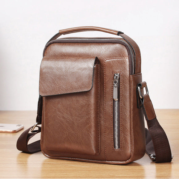 Men's Vintage Pu Leather Zipper Crossbody Shoulder Bag Briefcase Handbag