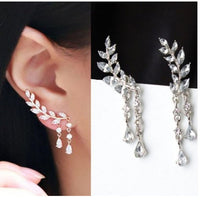 1 Pair Shining Crystal Leaves Tassel Earrings For Women Girls Jewelry Gifts