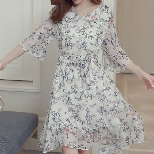 Maternity Breastfeeding Dresses Pregnant Women Print Chiffon Dress Flower Summer Pregnancy Clothes