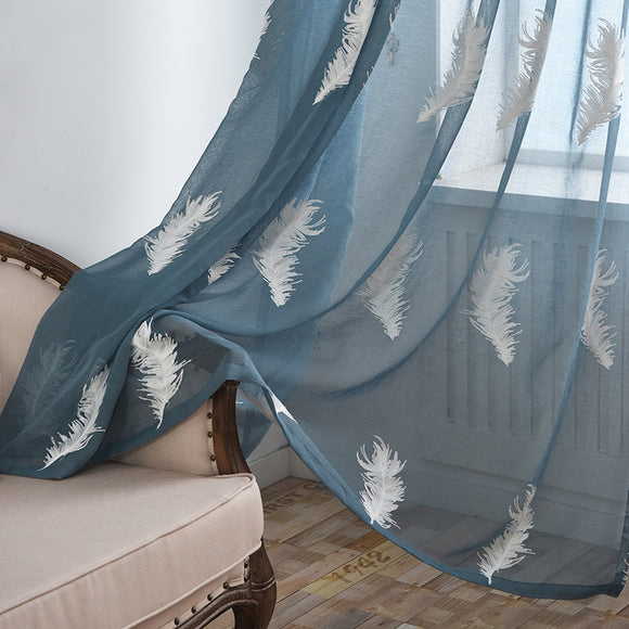 Rod Feathers Embroidered Window Screening Bedroom Curtains