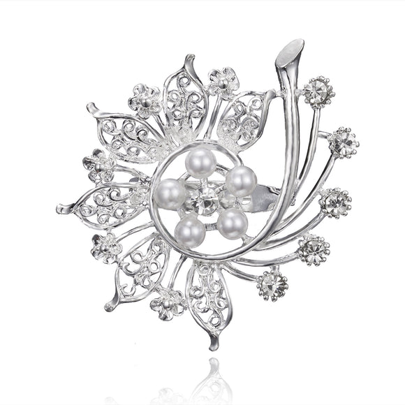Rhinestone Floral Brooch Wedding Bridal Jewelry Brooch