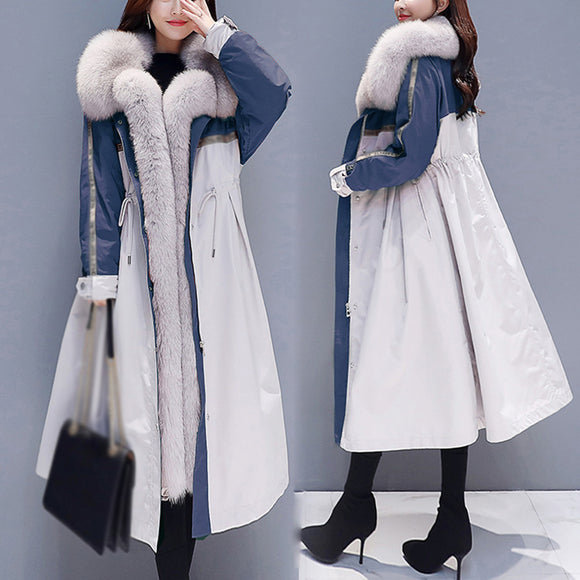Women Winter Big Yards New Fashioned Print Plush Thicken Fur Collar Padded Coat