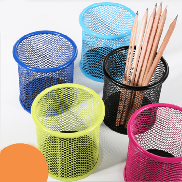 Colorful Round Pen Holder Wire Mesh Pen Holder School Office Supplies