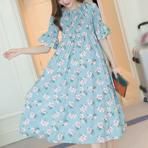 New summer Maternity Dress Printed Chiffon Bohemian Elastic Dress Flower Printed Chiffon Dress