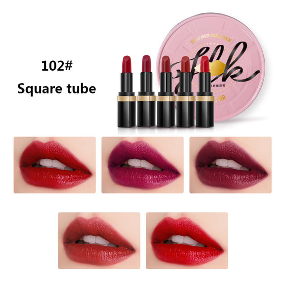 Iron Boxed Packing 5 Pieces Moisturizing And Nourishing Lipstick Suit