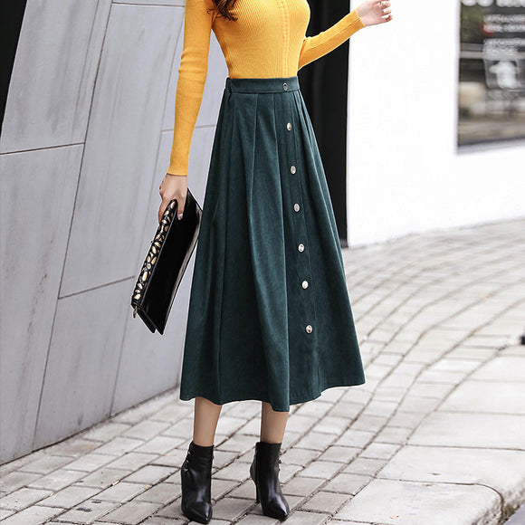Winter Autumn Buttons Stretchy Waist Suede Midi Skirt