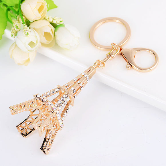 Eiffel Tower Car Key Decoration Accessory Golden With Multi Color Crystal Car Decoration Pendant