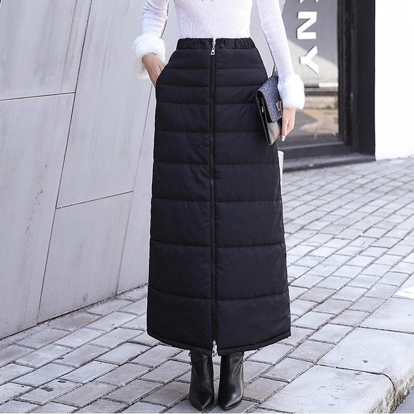Winter One Piece Skirt Zipper Elastic Waist Warm Down Skirt
