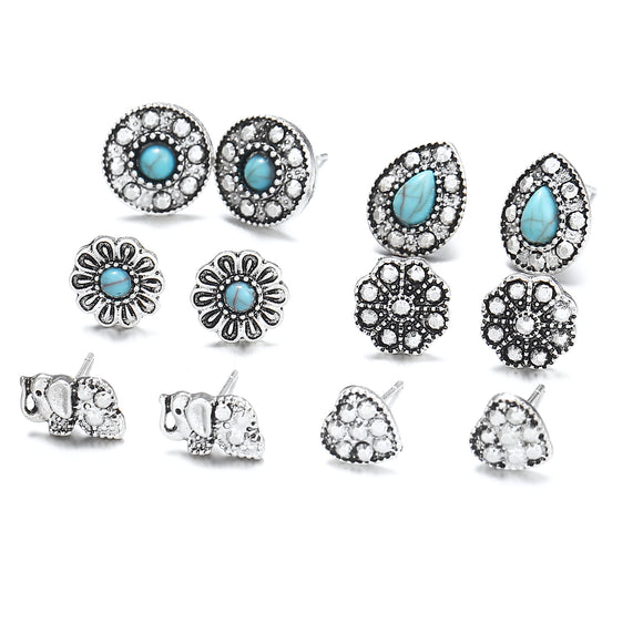 6 Pair Retro Hollow Elephant Pine Stone Rhinestone Insert Earrings