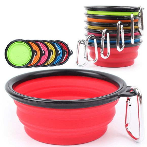 Pet Portable Folding Black Frame Bowl With Keychain
