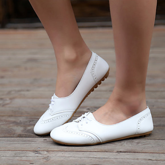 Spring Women Flats Shoes Women Moccasins Lace Up Loafers White Shoes Comfortable Shoes