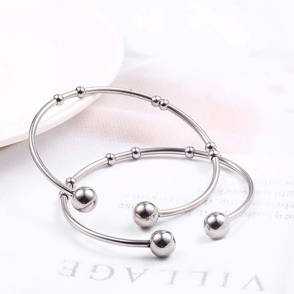 1PC Women Simple Mini ball Titanium Steel Open Bracelet