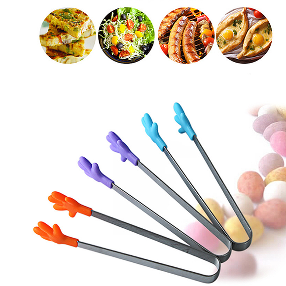 Stainless Steel Food Clip Silicone Palm Ice Cubes Vegetable Fruit Salad Cake Clip Food Tongs