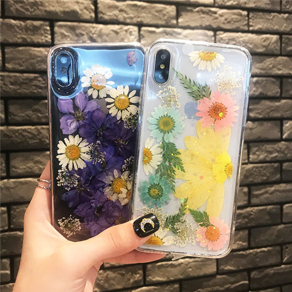 Creative Dropping Glue Flower Printing Phone Case For Iphone