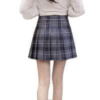 Korean Summer Style New Plaid Pleated Skirt Rock Kawaii High Waist Fashion Women Clothing