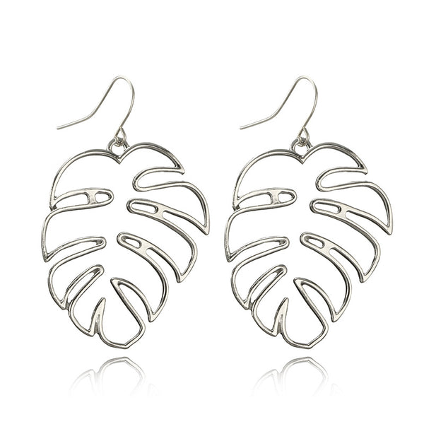 1 Pair Alloy Simple Leaf Earring Gold Color Cutout Palm Leaf Dangle Earring Fashion Accessories