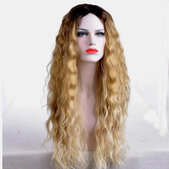 Long Center Parting Corn Perm Ombre Enchanting Synthetic Wig