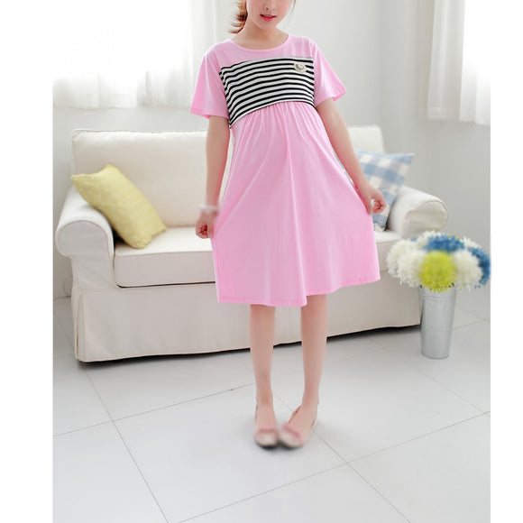 Maternity Breastfeeding lactating Summer Dress Stripped Pregnancy Dress Pregnant Women Casual Style