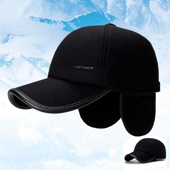 Men's Autumn And Winter Solid Color Woolen Baseball Cap Warm Earmuffs Hat