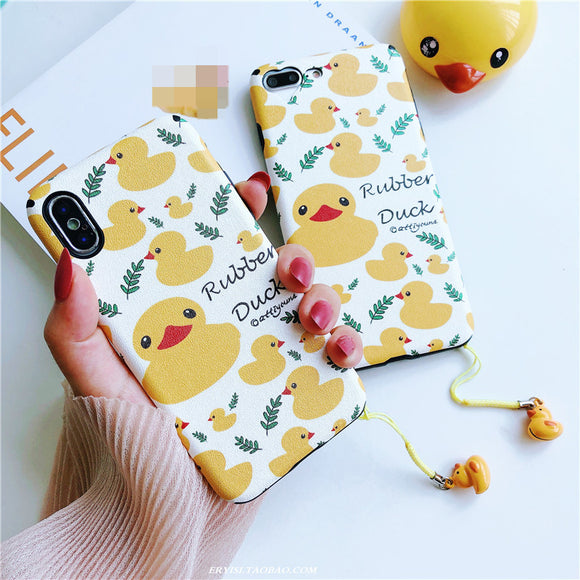 Lovely Cartoon Yellow Duck Soft Shell Phone Case With Small Bell For Iphone