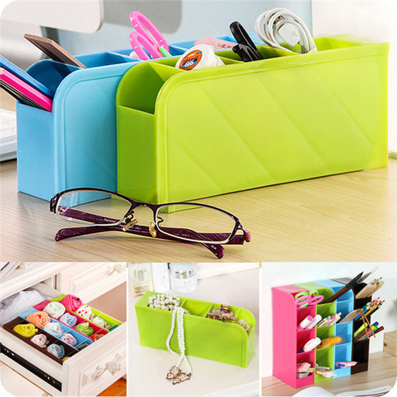 2 Sets Of 4-compartment Multifunctional Stationery And Tableware Storage Box