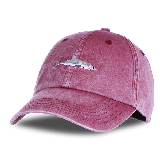 Men's Cotton Blend Washed Baseball Caps Men Hats Shark Embroidery Caps