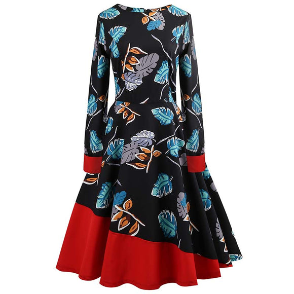 Long Sleeve Stitching Round Collar Print Vintage Dress
