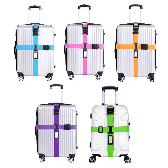 Adjustable Travel Suitcase Nylon 3 Digital Code Buckle Belt Luggage Belt