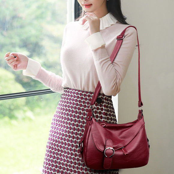 Soft Leather Large Capacity Casual Shoulder Bags Cross-body Bags