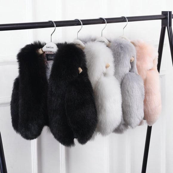 Kids' Basic Solid Collarless Faux Fur Coats